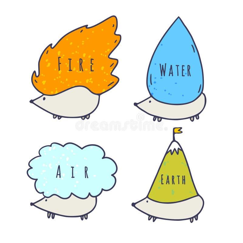 Quatro Caracteres de Elementos Terra do Ar de Fogo Isolado em branco Crianças imprimem com elementos bonitos da vida ilustração do vetor
