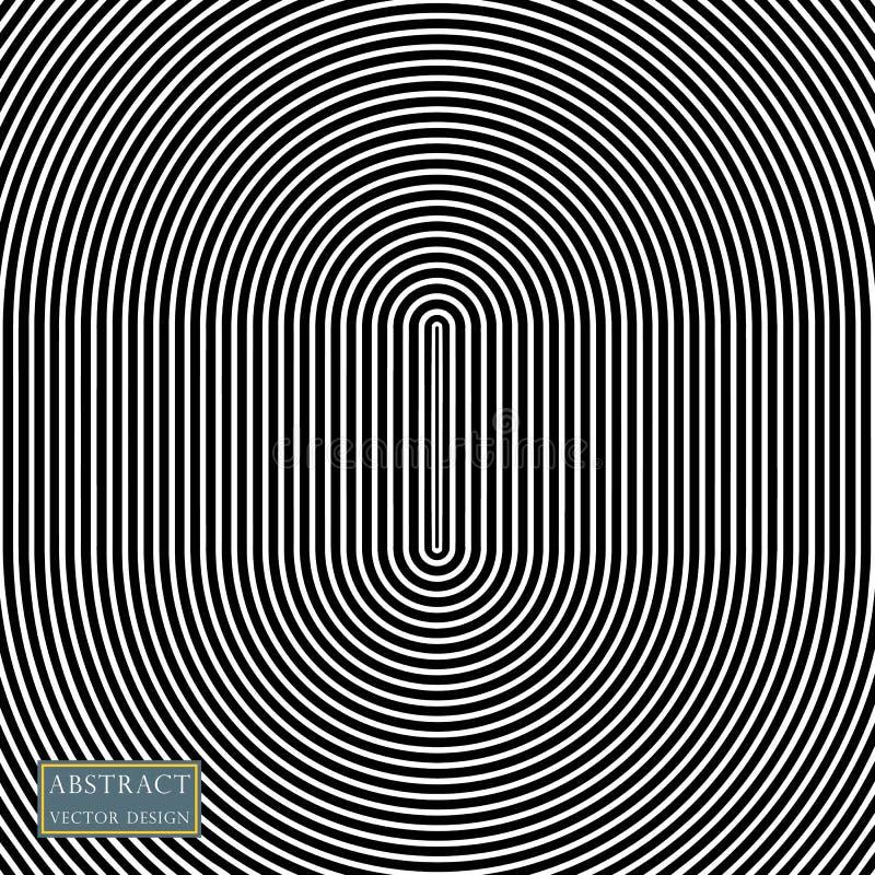 Illustrazione dell'estratto di vettore di irradiamento, cerchi ovali concentrici Elemento della sovrapposizione del modello, stil royalty illustrazione gratis