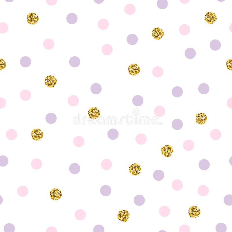 Wzorzec wektorowy Polka z kropkami migającymi Luksus polka Jasne tła świąt Złoty ilustracji