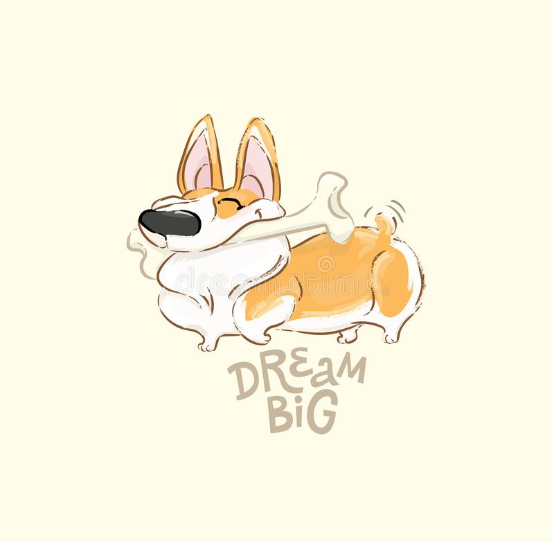 Happy Corgi Dog Play Bone Vector Poster Grappig Little Puppy Animal Dream Big Concept Typography Print Poster Design Kan stock illustratie