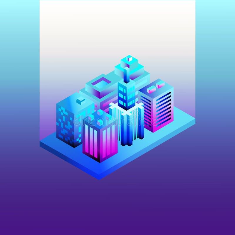 Isometrische 3D-Stadt in Neon-ultravioletten Farben Neonbauten, Architektur 3d Karte der Isometriestadt vektor abbildung