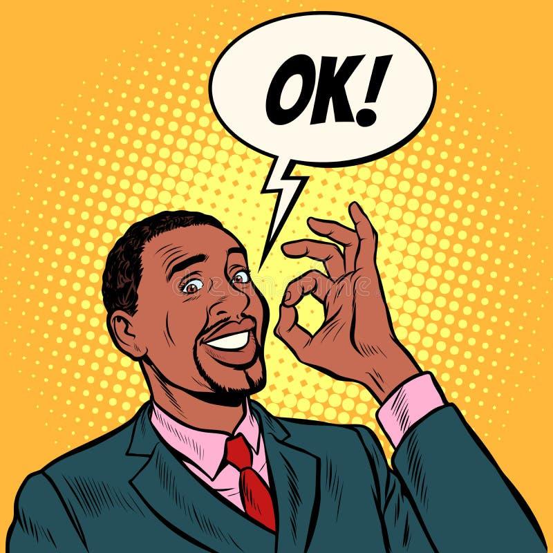 Homme d'affaires africain OK gestes de main OK succès illustration stock