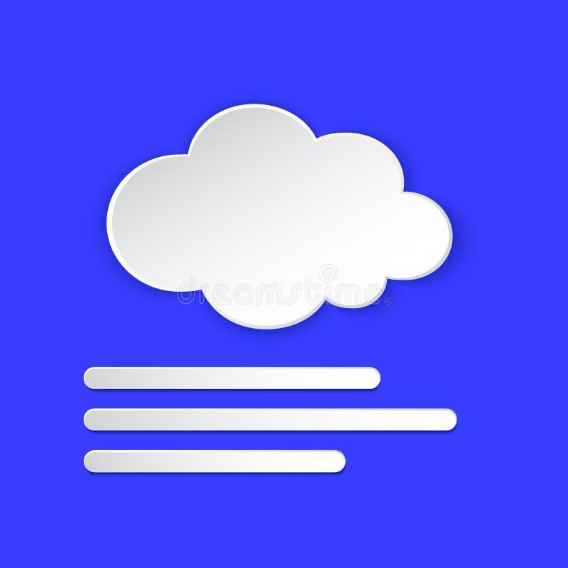 Nebelwetterprognose Foggy Day, Nebel, tropfendes Papierschnitt auf blau Klima-Wetterelement Knopf vektor abbildung