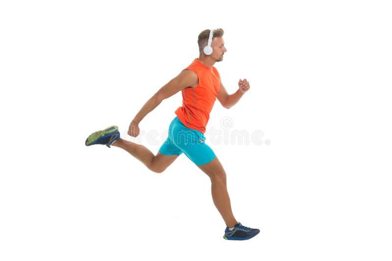 Training comfortabel met de favoriete Draadloze hoofdtelefoons van de spoorlijst voor sport Modern hoofdtelefoonsconcept knappe m stock afbeeldingen