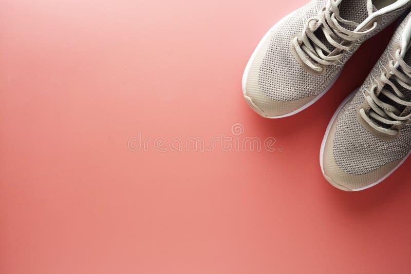Flache Lage von weiblichen Turnschuhen, Sportschuhe auf einem rosa Hintergrund Laufendes Training, Eignung, Sport, Yogakonzept Ko lizenzfreies stockbild
