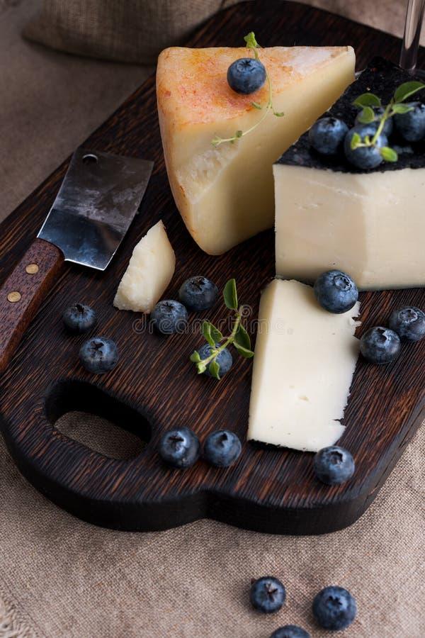 Vit pektost och blåbär Traditionell italiensk hård ost och ett glas rött vin Bakgrund och mörk stil av trä arkivfoton