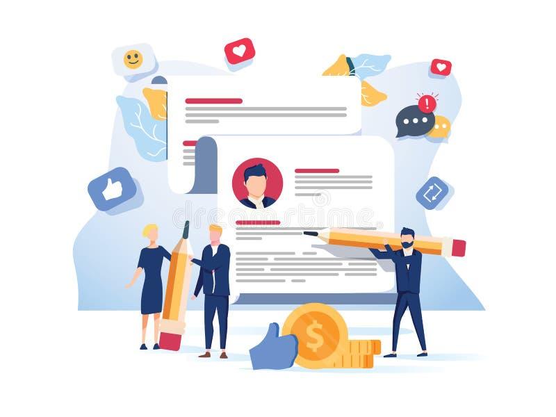 Blog-Inhalt, Blogging-Post Vector-Abbildung Gewerblicher Blog-Posting, Internet-Blogging-Service Kreative Schrift lizenzfreie abbildung