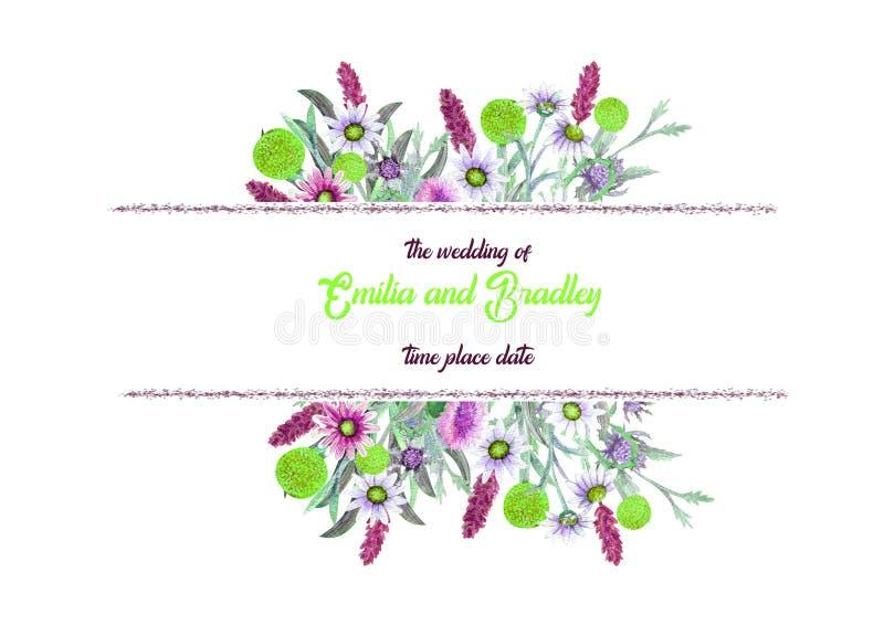 E r kwiatu przygotowania Kartka z pozdrowieniami szablonu projekt tła sztandaru ptaszyn clothespin pary projekta serc ilustracyjn ilustracji