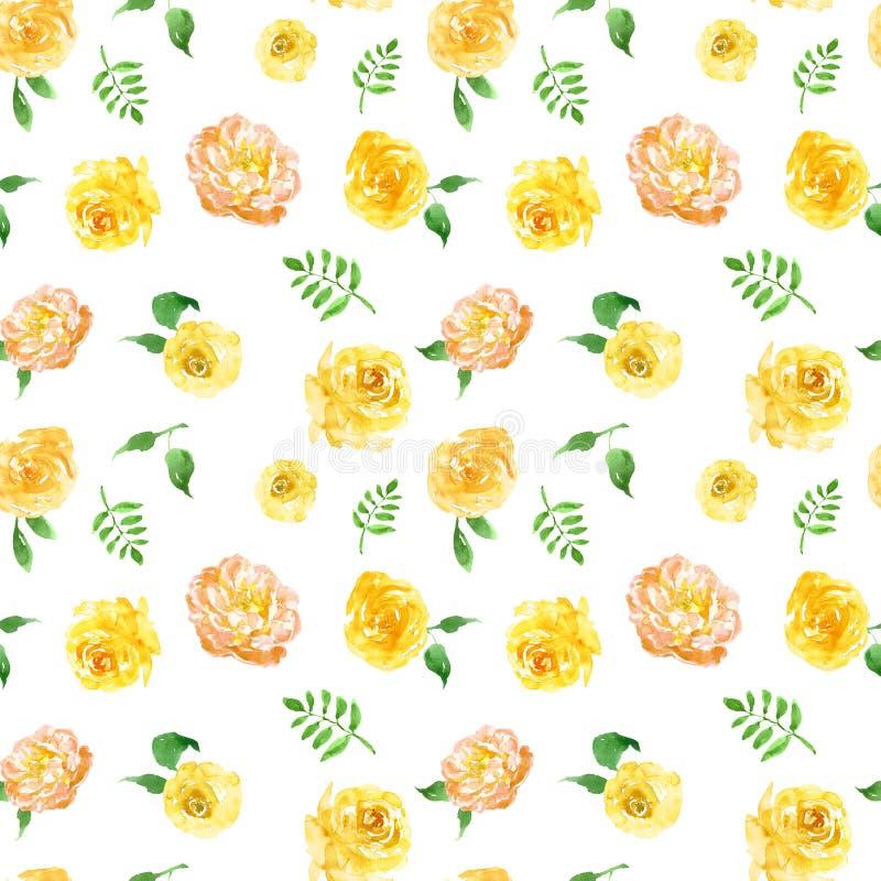 Druk kwiatów w kolorze wodnym, żółtym Rozestawia wzorek bez szwu na białym tle Ilustracja wiosny royalty ilustracja