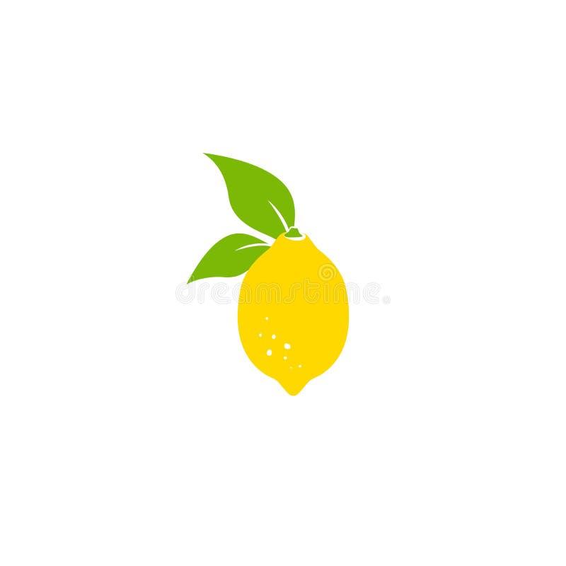 与叶子的柠檬 在白色隔绝的平的动画片象 lemons lime r 库存例证