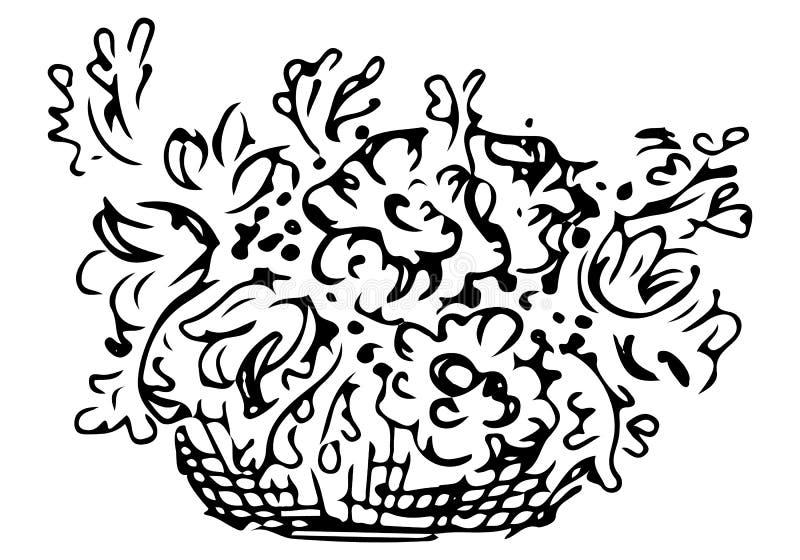Bouquet de peonias flores em um cesto de madeira Imagem floral de rabisco vetorial Arte de linha Desenho ilustração do vetor