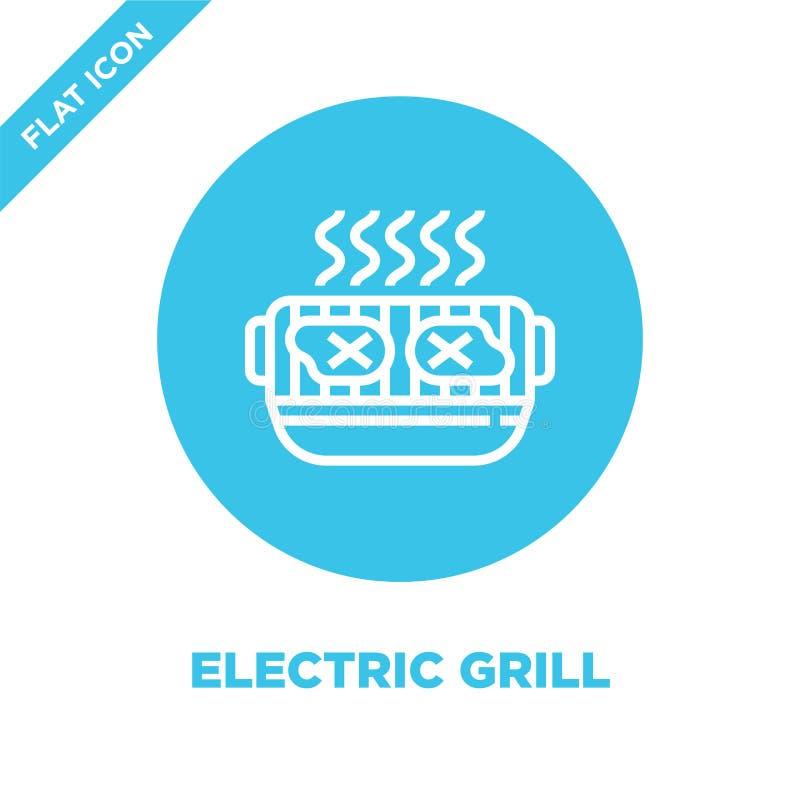 wektor ikon grilla z kolekcji bbq i grill Ilustracja wektora konturów cienkiej linii elektrycznych Liniowy ilustracja wektor