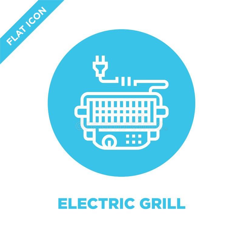 wektor ikon grilla z kolekcji bbq i grill Ilustracja wektora konturów cienkiej linii elektrycznych Liniowy ilustracji