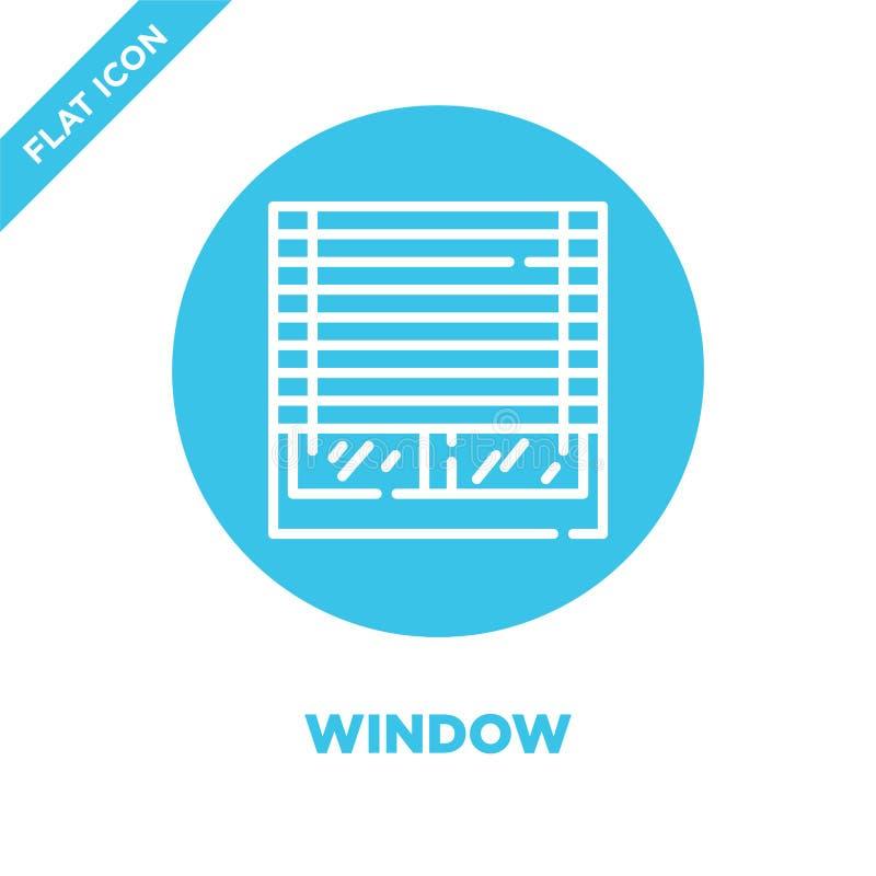 wektor ikon okna z kolekcji inteligentnych domów Ilustracja wektora ikony cienkiego okna Symbol liniowy do użycia w Internecie royalty ilustracja