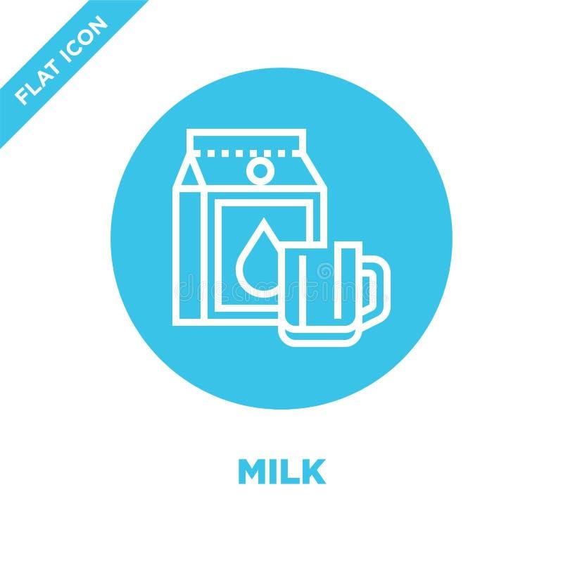 mjölkkonvektor från dryckessamling Vektorbild för konturkontur för tunn mjölk Linjär symbol för användning på webben och royaltyfri illustrationer