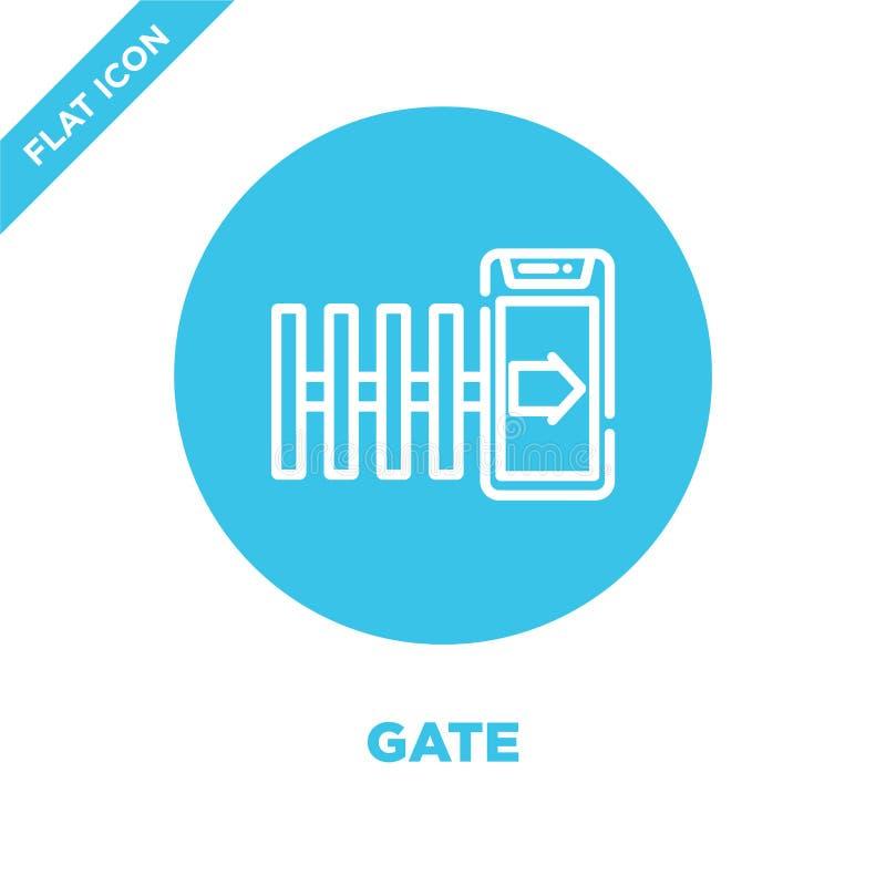 gate-ikonvektor från smart hemsamling Vektorbild för konturkontur för tunn linje Linjär symbol för användning på webben och stock illustrationer