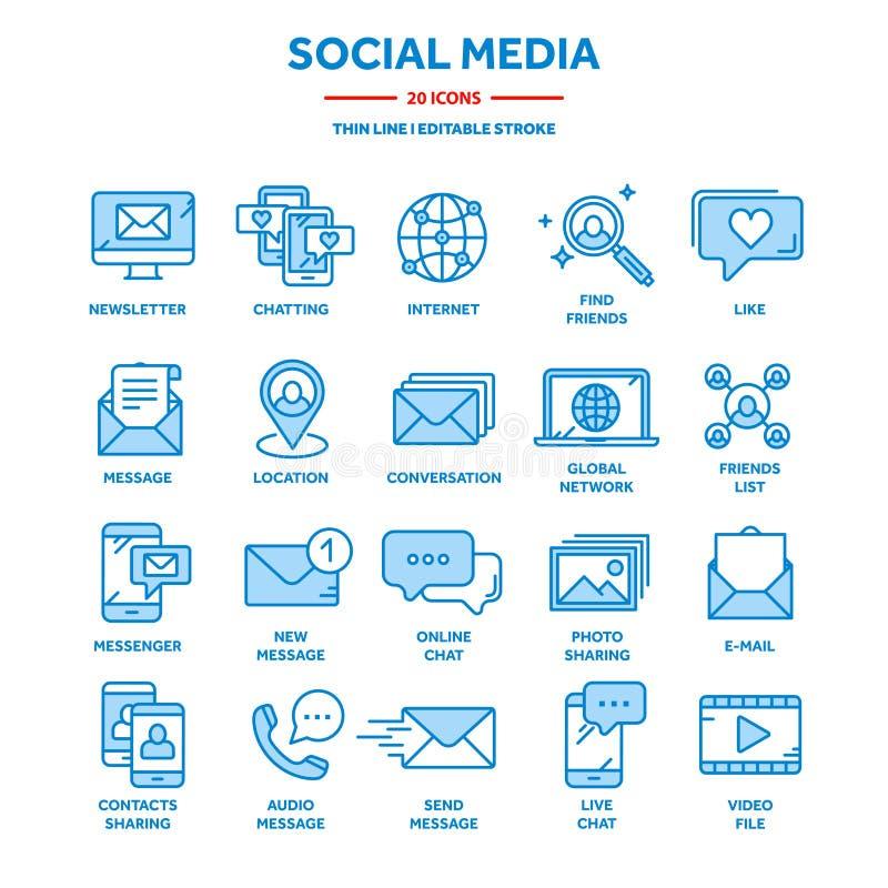 Comunicação, mídia social e bate-papo on-line Chamada telefônica, mensagem de aplicativo Celular,smartphone Computação, email Lin ilustração do vetor