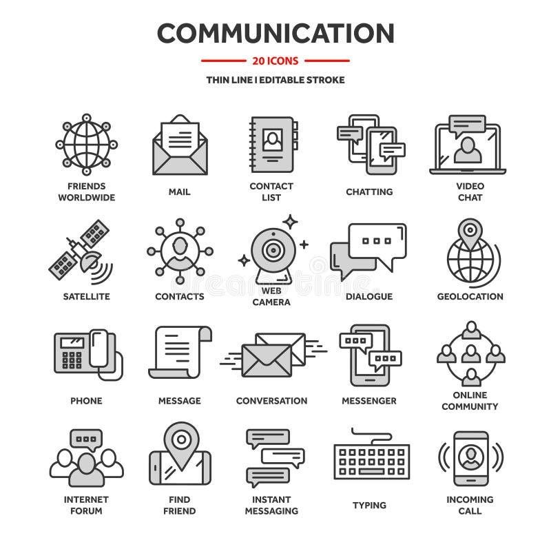Comunicação, mídia social e bate-papo on-line Chamada telefônica, mensagem de aplicativo Celular,smartphone Computação, email Lin ilustração stock