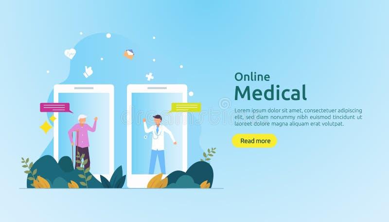 Lokal medicinsk rådgivning eller hälsovård online Kontakta läkare för att få råd med personer mall för webblandning royaltyfri illustrationer