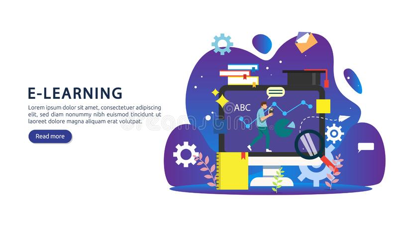 E-learningconcept met computer-, boek- en minuscule personages in het studieproces E-book- of online-onderwijs sjabloon voor web stock illustratie
