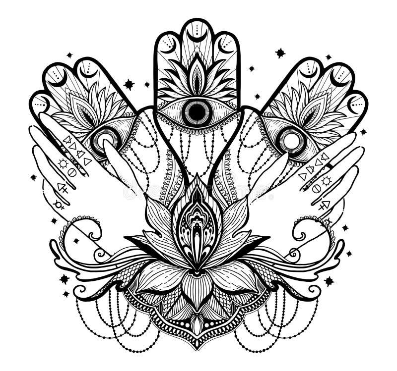 Magische Talisman-religie Aziatisch en hand, lotusbloem Zwarte kleur grafisch in witte achtergrond Tekening van de moth mandala-v royalty-vrije illustratie