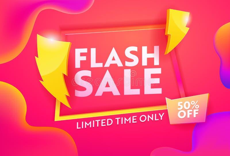 Horisontellt förhandsgranskningsprogram för Flash-försäljning Mall för säljfrämjande övertoning för affärsrabatter Marknadsföring royaltyfri illustrationer