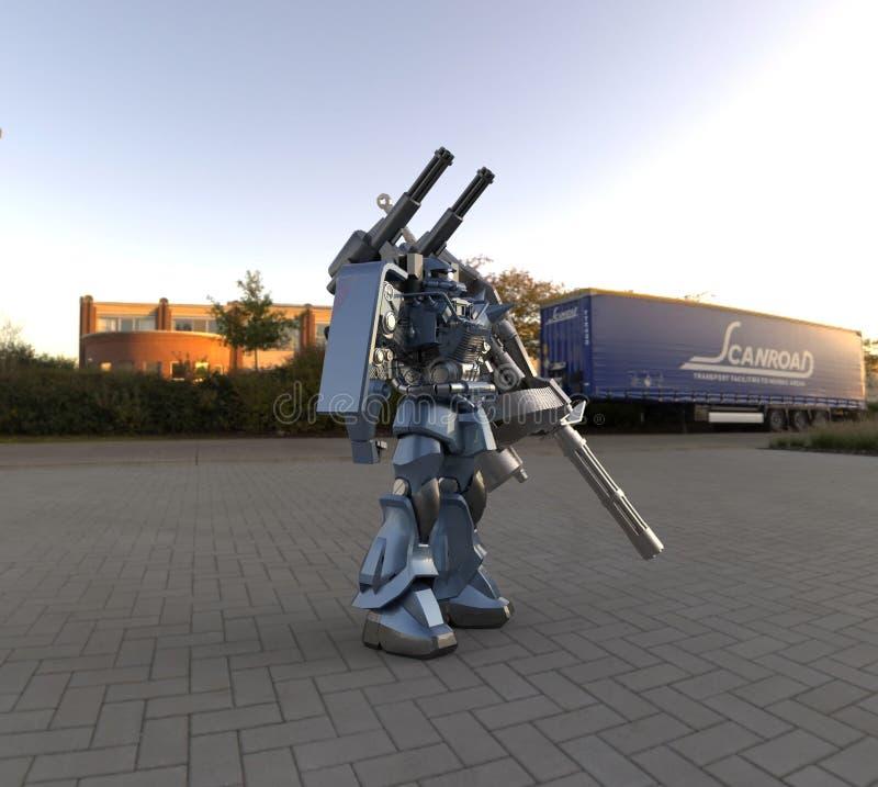 Солдат са-фи меха на фоне ландшафта Военный футуристический робот с зеленым и серым металлом Рех-сигнал иллюстрация вектора