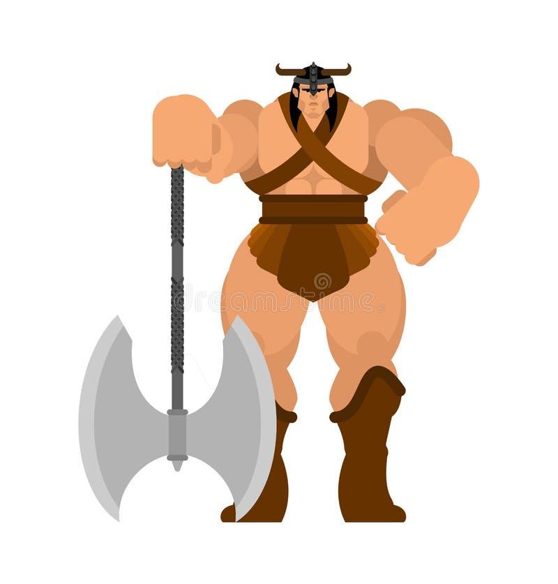 E E r Mercenario medieval potente fuerte Soldier Vector ilustración del vector