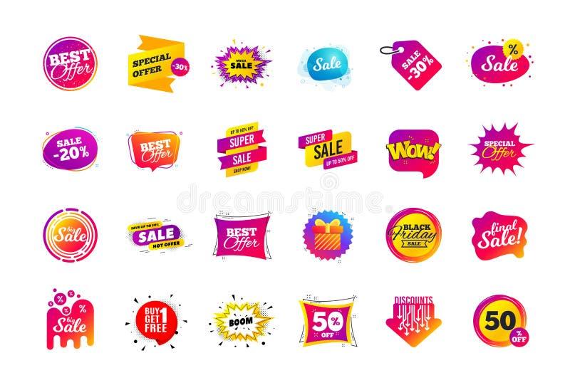 Sale baneremblem Rabattetiketter för specialt erbjudande Kupongformmallar Mest bra erbjudandeemblem Toppna rabattsymboler vektor stock illustrationer