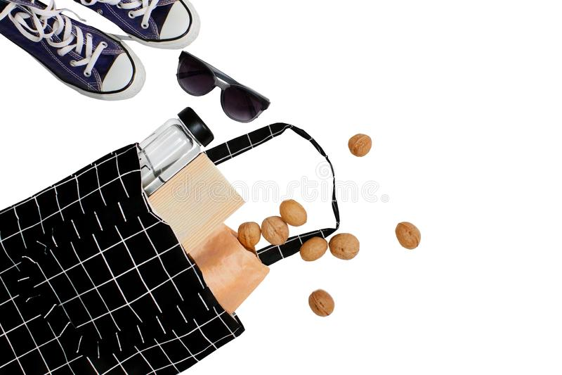 Trendy Shopping bag Svart tom eko-väska av bomull Återvinning av miljöskyddskoncept Påse för återvinning av bärare arkivfoton