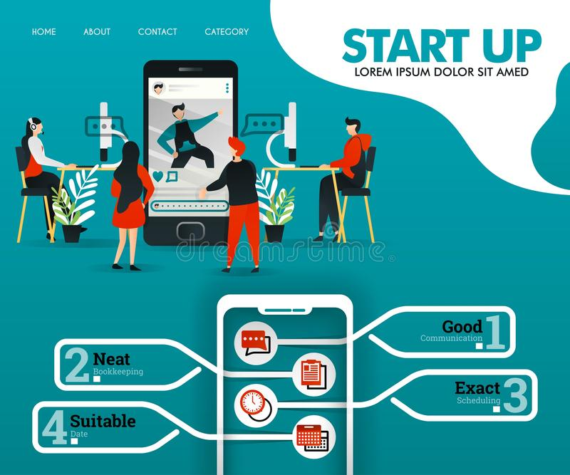 START UP opracowuje aplikację program naprawia system może używać dla, strony docelowej, szablonu, ui, sieci Web, aplikacji mobil ilustracja wektor