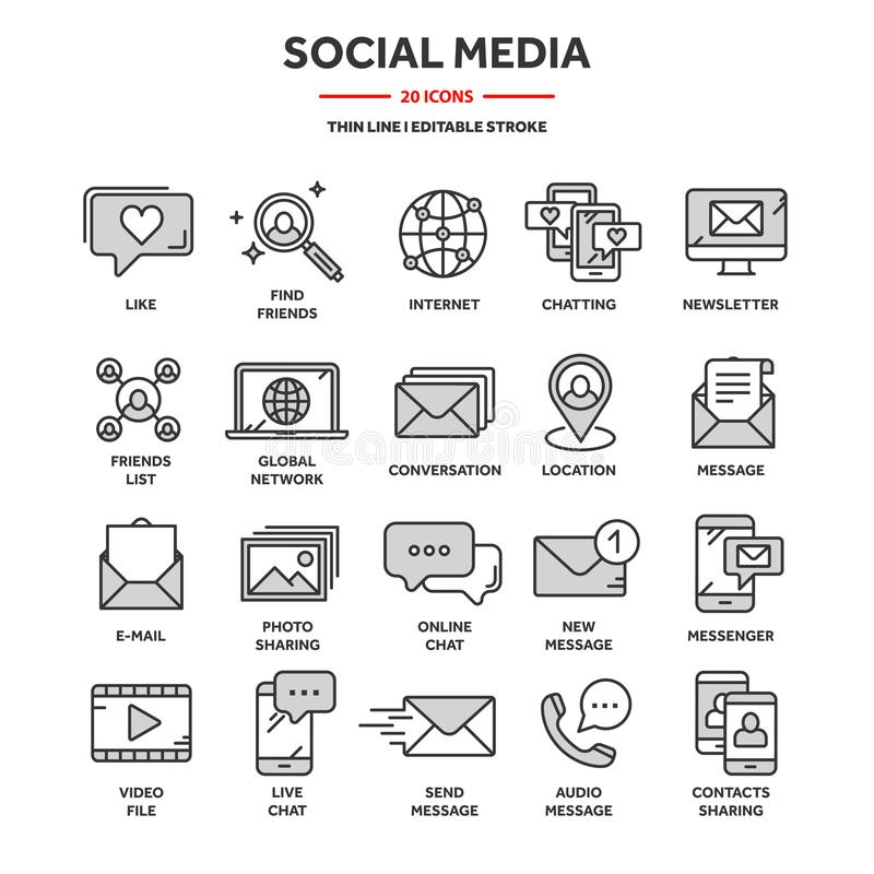 Kommunikation, soziale Medien und Online-Chat Telefonanruf, App-Messenger Mobiltelefon, Smartphone Datenverarbeitung, E-Mail dünn stock abbildung