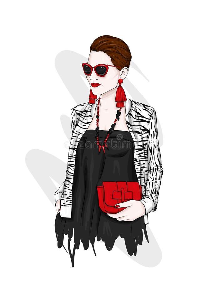 Schöne Frau mit einem kurzen Haarschnitt in einer stilvollen Jacke und Kleid Kleidung, Accessoires und Schmuck Mode und Stil vektor abbildung