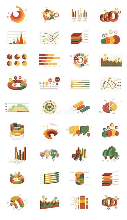 Vectorreeks isometrische infografische elementen Verschillende soorten grafieken en diagrammen Moderne 3D-stijl Ontwerp voor vector illustratie