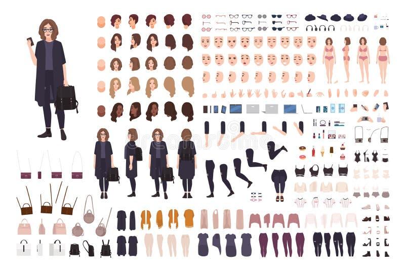 Modernste Teenager-Mädchen-Avatar-Konstruktionskit Set aus Körperteilen, Kleidung und Zubehör Trendy Straßenausführung vektor abbildung