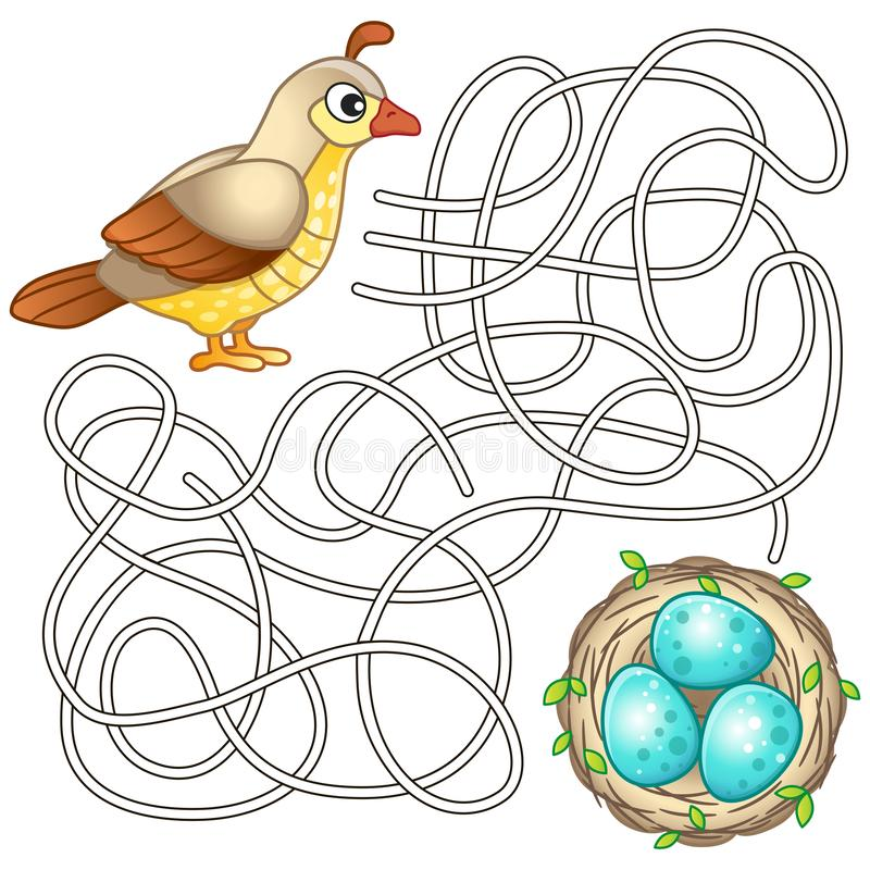 pagina di coloritura per la creatività dei bambini Puzzle, gioco del labirinto per i bambini modo del ritrovamento illustrazione vettoriale