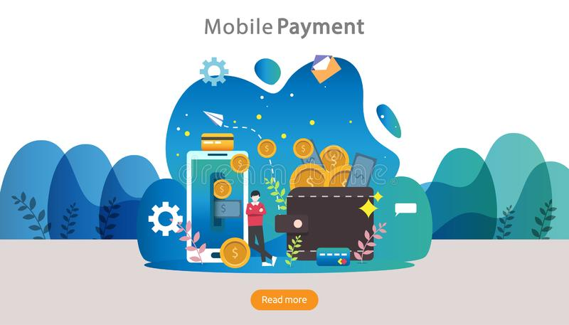 conceito de pagamento móvel ou transferência de dinheiro Ilustração online de compras no mercado de comércio eletrônico com perso ilustração royalty free