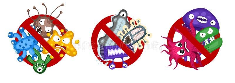 Insieme di simboli del virus di diffusione di arresto Illustrazione di vettore isolata caratteri del germe del fumetto su fondo b illustrazione vettoriale