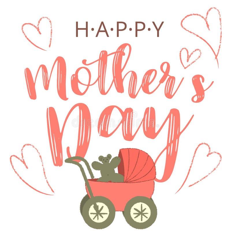 Tarjeta de dibujos animados Happy Mothers's Day con una imagen de moda en las extremidades Madre con bebé buggy Mujer con carro d libre illustration