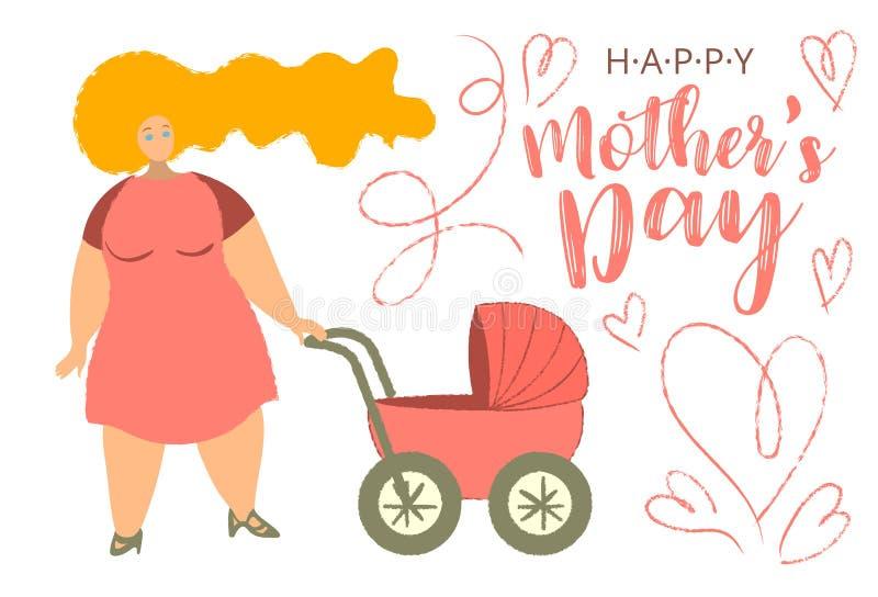 Tarjeta de dibujos animados Happy Mothers's Day con una imagen de moda en las extremidades Madre con bebé buggy Mujer con carro d stock de ilustración