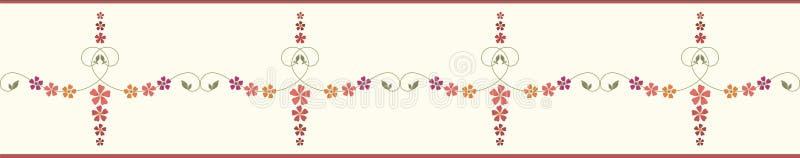 Dekorative, von Hand gezogene Blumengrenze mit gestreiftem Rand Orange, Rot, Bordeaux, violette Blumen Nahtloses Vektormuster lizenzfreie abbildung