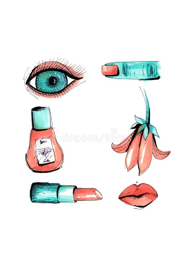 Collage in een stijl van een modetijdschrift met meisjeslippen en ogen Meisjesmond en ogen dicht bij elkaar met lippenmake-up Nai stock illustratie