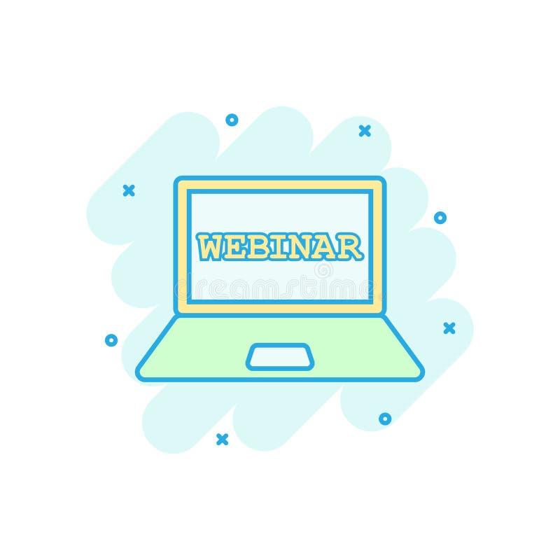 Ikona procesu szkolenia online w stylu komiksowym Piktogram ilustracyjny wektora seminarium seminariowego na seminarium wektorowy ilustracji