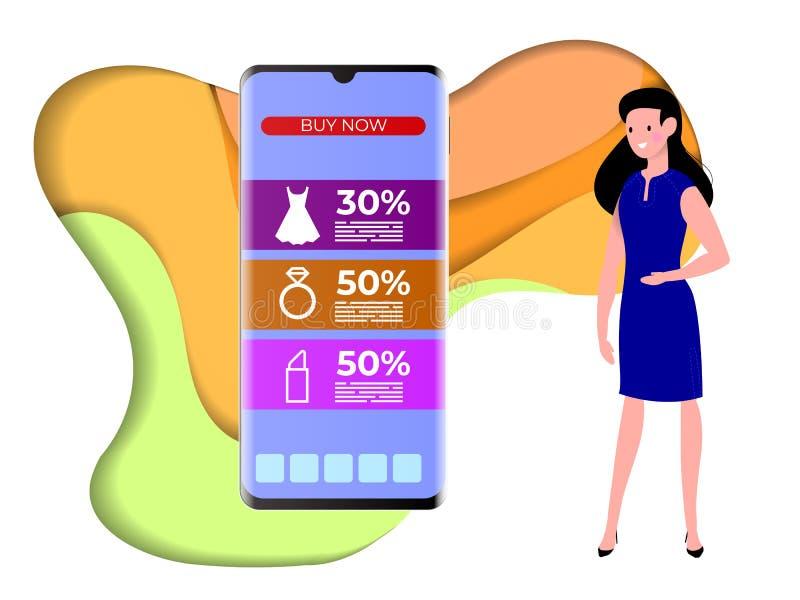 Conceito de compras online com caracteres femininos Tablet e Smartphone da loja de comércio eletrônico para portáteis Consumidor ilustração do vetor