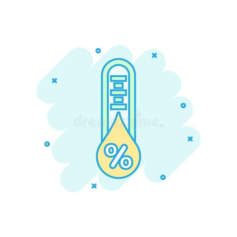 Icono de la humedad en estilo cómico Ejemplo de la historieta del vector del clima en el fondo aislado blanco Negocio del pron?st stock de ilustración