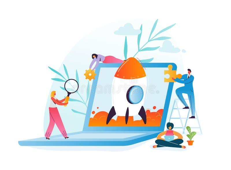 Koncepcja pracy zespołowej projektu biznesowego podczas uruchamiania Znaki biznesowe uruchamiające rakietę z notebooka Nowoczesna royalty ilustracja