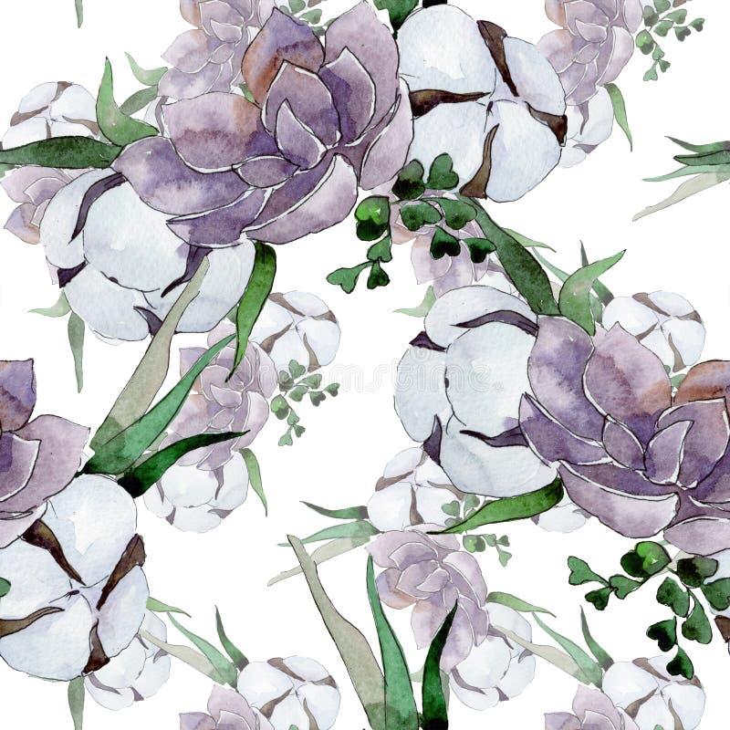 花卉植物花 水彩背景插图集 无缝背景模式 免版税库存照片