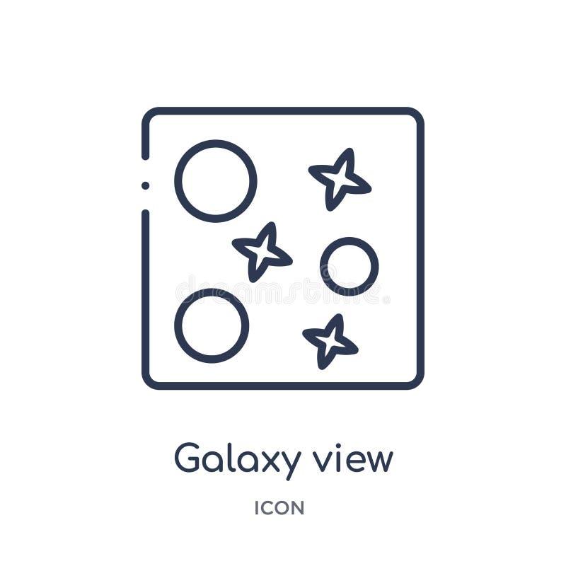 Ícone de visão de galáxia linear da coleção de contornos de Astronomia Vetor de visão de galáxia de linha fina isolado em fundo b ilustração do vetor