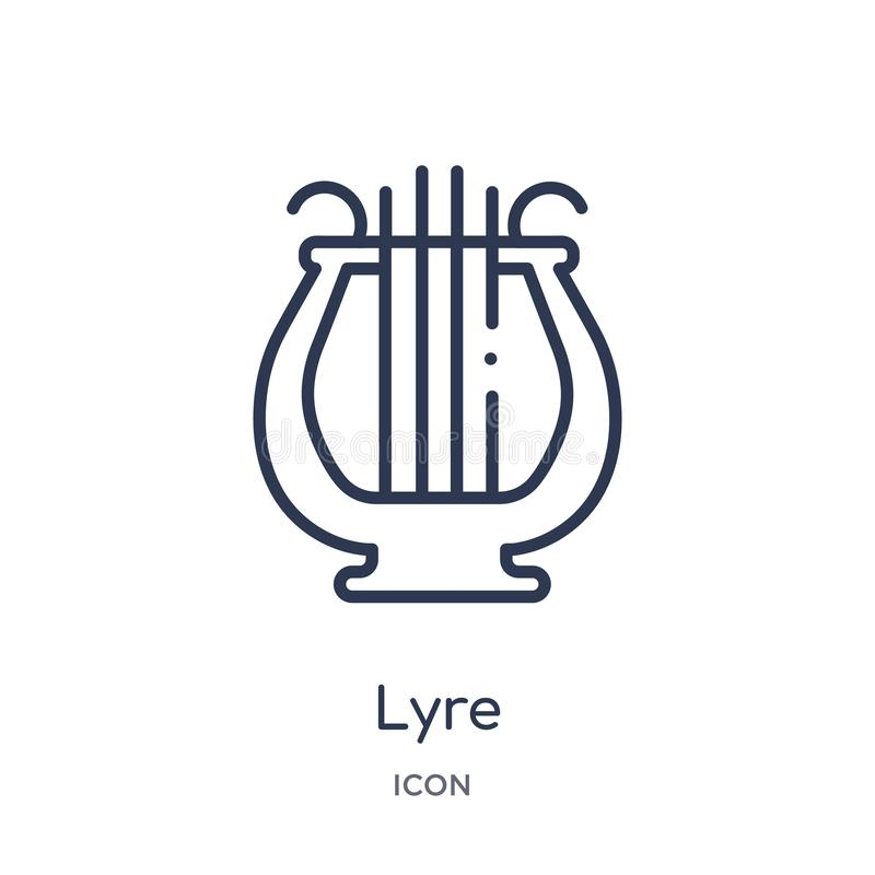 Linear-Lyre-Symbol aus Griechenland-Skizze Thin-Line-Lyse-Symbol isoliert auf weißem Hintergrund lyre trendige Abbildung lizenzfreie abbildung