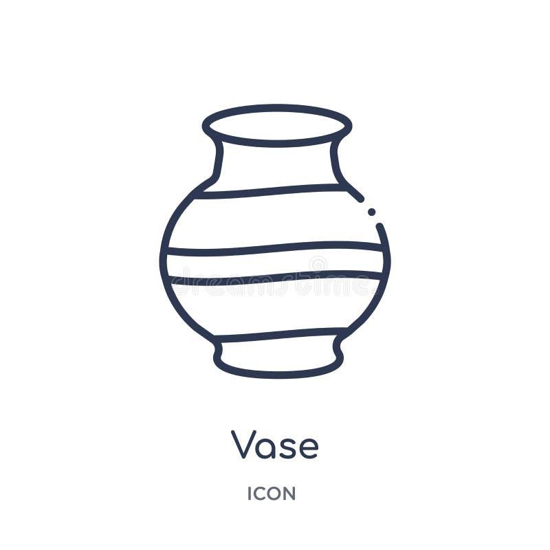 Icône de vase linéaire de la collection de contours d'historique Icône de vase de ligne mince isolée sur fond blanc illustration  illustration de vecteur